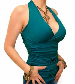 Teal Figure Hugging Halter Neck Top
