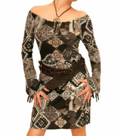 Long Sleeve Ethnic Print Dress