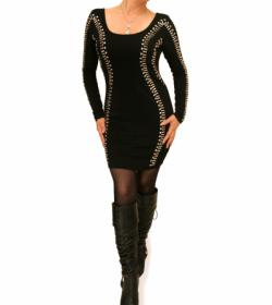 Black Silver Beaded Mini Dress/Top