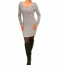 Grey Silver Beaded Mini Dress/Top