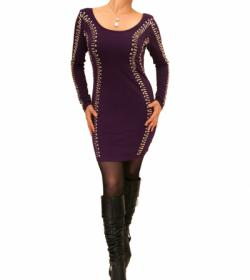 Purple Silver Beaded Mini Dress/Top