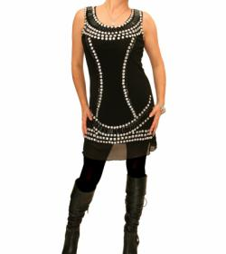 Black Jewelled Lined Mesh Tunic Top