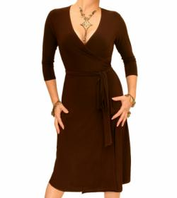 Brown Elegant Wrap Dress