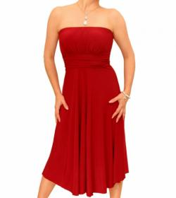 Red Slinky Strapless Dress