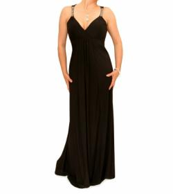 Black Diamante Strap Long Evening Dress