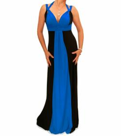 Blue and Black Long Evening Dress
