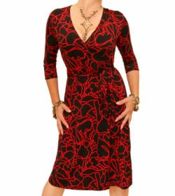 Red Squiggle Print Wrap Dress
