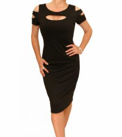 Black Slashed Front Dress
