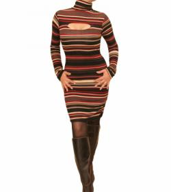 Red and Black Fine Knit Jumper Dress