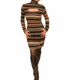 Brown and Black Fine Knit Jumper Dress