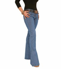 Blue Ribbed Super Stretchy Flared Jeans