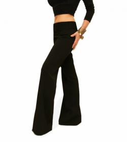 Black Smart Flared Trousers
