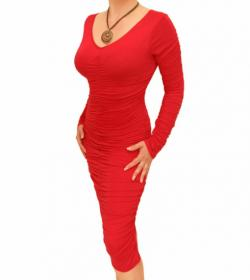 Red Ruched V Neck Dress