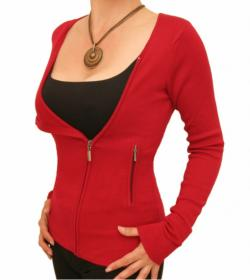 Red Biker Style Zip Up Cardigan