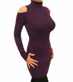 Purple Cold Shoulder Polo Neck Jumper