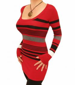 Red Striped Scoop Neck Jumper