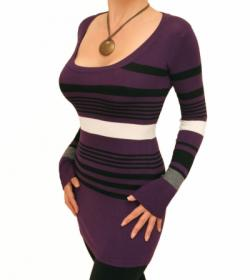 Purple Striped Scoop Neck Jumper