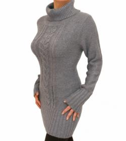 Grey Cable Knit Long Jumper