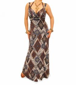 Navy Blue and Mocha Ethnic Print Maxi Dress