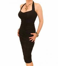 Black Ruched Halter Neck Dress