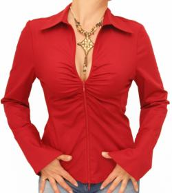 Dark Red Zip Up Fitted Stretchy Shirt