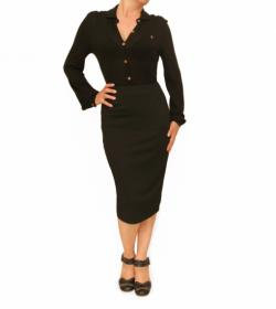 Black Textured Waffle Pencil Skirt