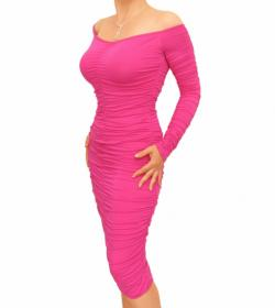 Cerise Pink off the Shoulder Ruched Dress
