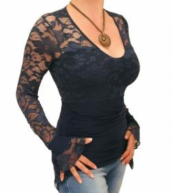 Navy Blue Lace Bell Cuff Clingy Top