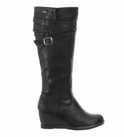 Black Leather Effect Wedge Boots
