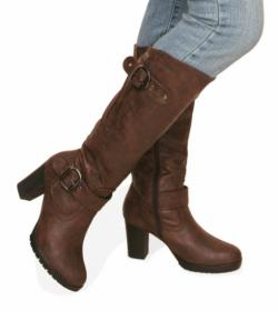 Brown Biker Style Buckle Detail Boots