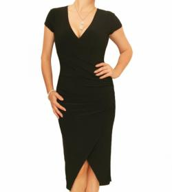 Black Ruched Mock Wrap Dress
