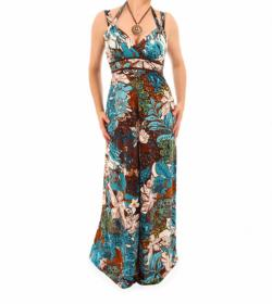 Turquoise and Brown Jungle Print Maxi Dress