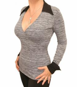 Grey and Black Marl Mock Wrap Top