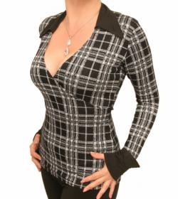 Black and White Checked Mock Wrap Top