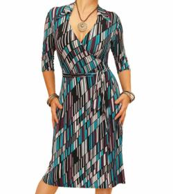 Teal and Purple Printed Collared Wrap Dress