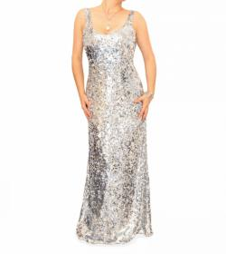 Silver Full Length Sequin Dress