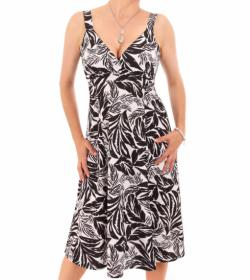 White Floral Leaf Print French Crepe Dress