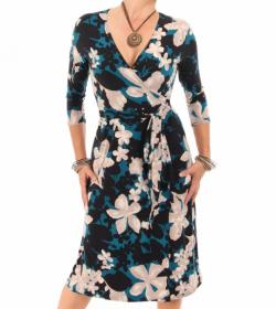 Teal Floral Print Wrap Dress