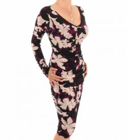 Plum Floral Ruched V Neck Dress