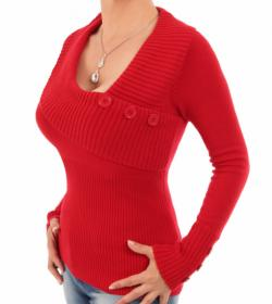 Red Asymmetrical Button Detail Jumper