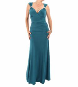 Teal Crystal Diamante Maxi Dress