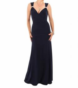 Navy Blue Crystal Diamante Maxi Dress