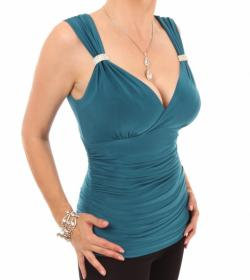 Teal Crystal Diamante Top