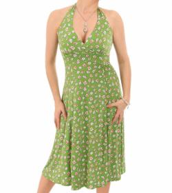 Green Daisy Floral Print Halter Neck Dress