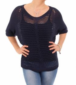 Navy Blue Crochet Style Top