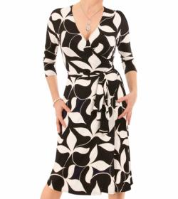 Black and Ivory Leaf Print Wrap Dress