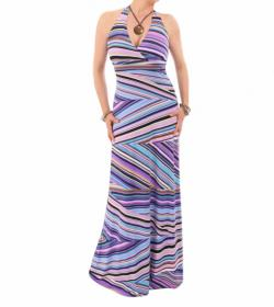 Purple Striped Halter Neck Maxi Dress