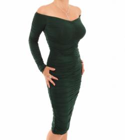 Dark Green off the Shoulder Ruched Dress