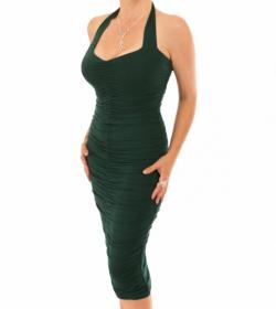 Dark Green Ruched Halter Neck Dress