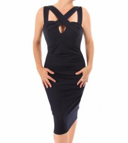 Navy Blue Cross Front Body-Con Dress